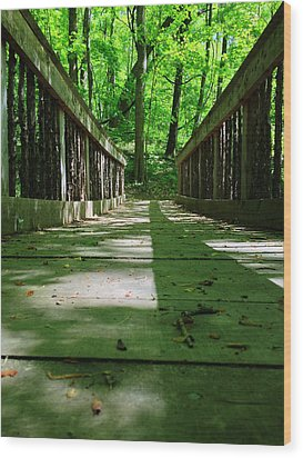 Bridge In The Woods Wood Print by Andrew Martin
