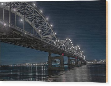 Bridge Lights Wood Print