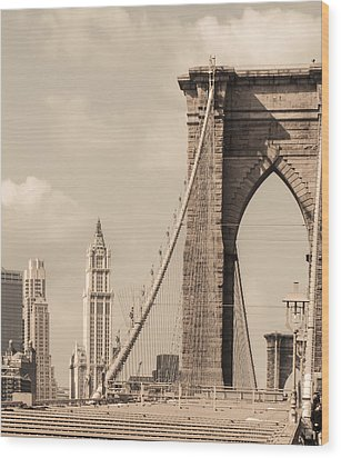 Brooklyn Bridge And Woolworth Building Wood Print