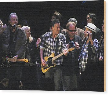 Bruce Springsteen Wood Print by Melinda Saminski