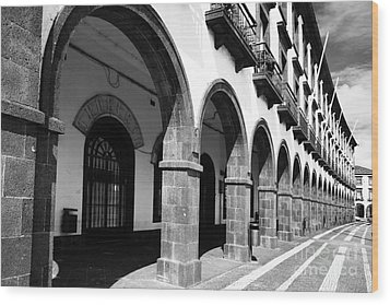 Buildings In Ponta Delgada Wood Print by Gaspar Avila