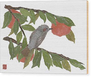 Bulbul And Persimmon  Wood Print by Keiko Suzuki