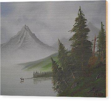 Bull Lake Wood Print by Caleb Mitchell