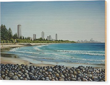 Burleigh Beach 210808 Wood Print by Selena Boron