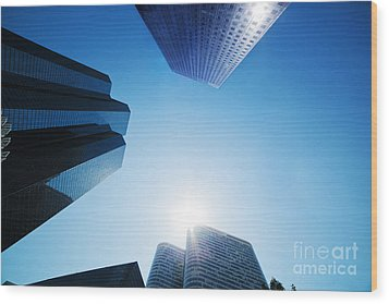 Business Skyscrapers Wood Print by Michal Bednarek