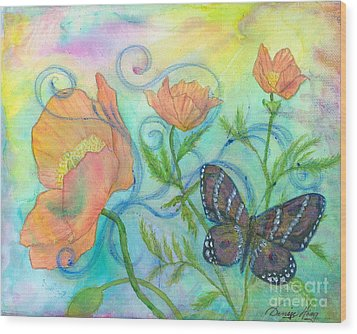 Butterfly Reclaimed Wood Print by Denise Hoag