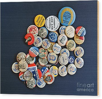 Buttons Wood Print by Gwyn Newcombe