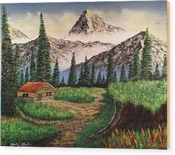 Wood Print featuring the painting Cabin In The Mountains by Michael Rucker