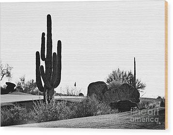 Cactus Golf Wood Print by Scott Pellegrin