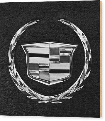 Cadillac Emblem Wood Print by Jill Reger