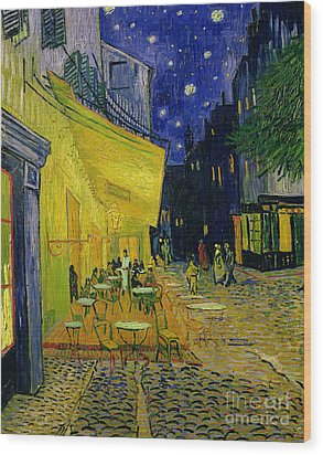 Cafe Terrace Arles Wood Print by Vincent van Gogh
