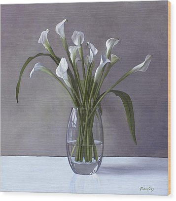 Calla Lilies In A Vase Wood Print