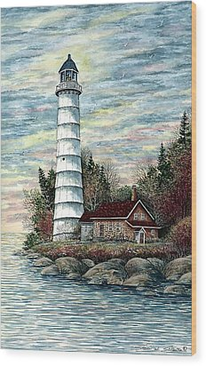 Cana Island Light Wood Print by Steven Schultz