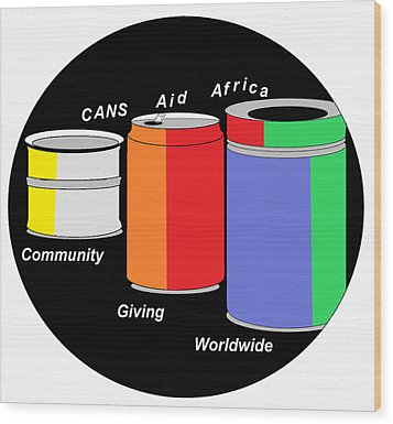 Wood Print featuring the digital art Cans Aid Africa Community Giving Worldwide by Mudiama Kammoh