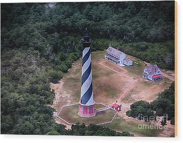Cape Hatteras Lighthouse From Above Wood Print by Tony Cooper