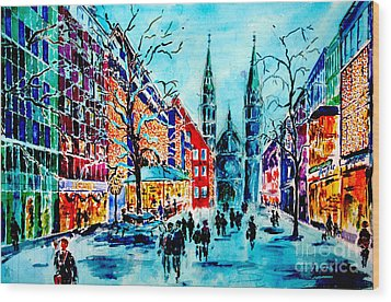 Wood Print featuring the painting Carolines Shopping Street by Alfred Motzer