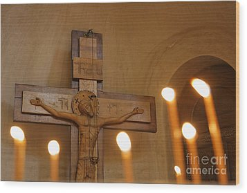 Carving Of Jesus Christ On The Cross Inside Tsminda Sameba Cathedral Tbilisi Wood Print by Robert Preston