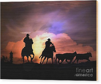 Cattle Drive Wood Print by Stephanie Laird