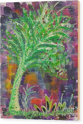 Wood Print featuring the painting Celery Tree by Holly Carmichael