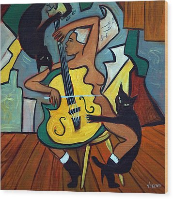 Cellist With Cats Wood Print by Valerie Vescovi