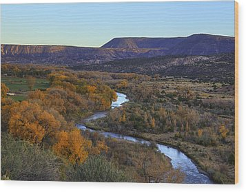 Chama River At Sunset Wood Print by Alan Vance Ley