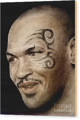 Wood Print featuring the drawing Champion Boxer And Actor Mike Tyson by Jim Fitzpatrick