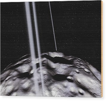 Chariklo Minor Planet And Rings Wood Print by Detlev Van Ravenswaay