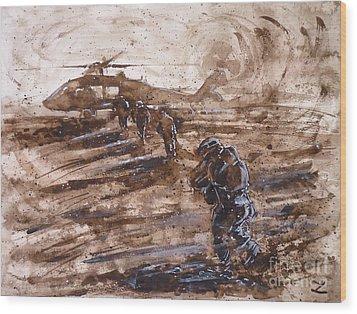 Charlie Mike Wood Print by Zaira Dzhaubaeva