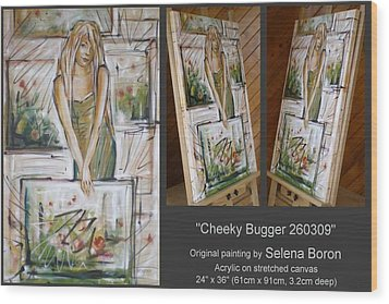 Wood Print featuring the painting Cheeky Bugger 260309 by Selena Boron