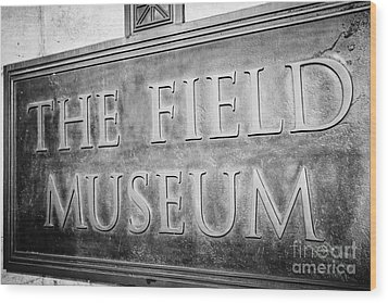 Chicago Field Museum Sign In Black And White Wood Print by Paul Velgos