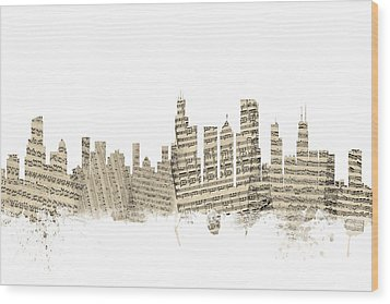 Chicago Illinois Skyline Sheet Music Cityscape Wood Print by Michael Tompsett