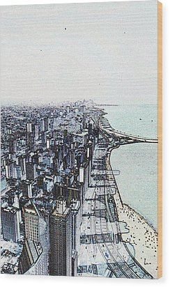 Chicago Lakefront Sketch Wood Print