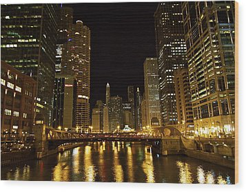 Chicago Nightscape Wood Print by John Babis