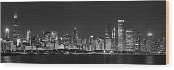 Chicago Skyline At Night Black And White Panoramic Wood Print by Adam Romanowicz