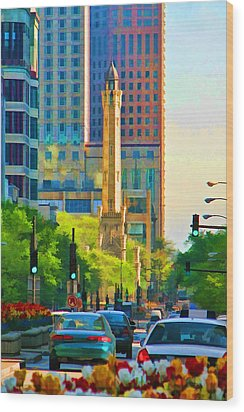 Chicago Water Tower Beacon Wood Print by Christopher Arndt