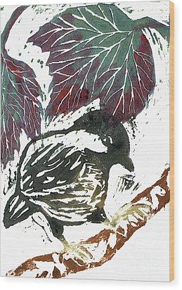 Chick A Dee  Block Print Wood Print by Ellen Miffitt
