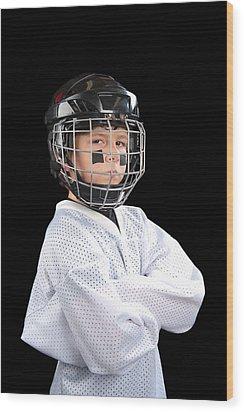 Child Hockey Player Wood Print