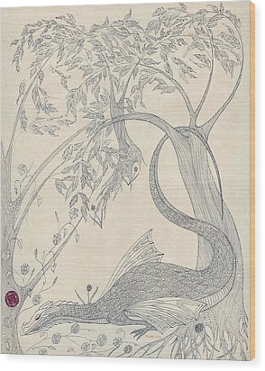 Wood Print featuring the drawing China The Dragon by Dianne Levy