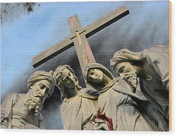 Christ On The Cross With Mourners St. Joseph Cemetery Evansville Indiana 2006 Wood Print by John Hanou