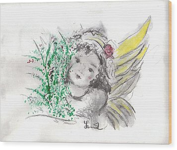 Wood Print featuring the mixed media Christmas Angel by Laurie L