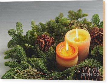 Christmas Candles Wood Print by Elena Elisseeva