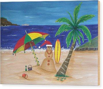 Christmas In Kona Wood Print by Pamela Allegretto