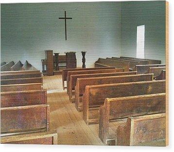 Church Wood Print by Janice Spivey