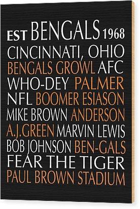 Cincinnati Bengals Wood Print by Jaime Friedman