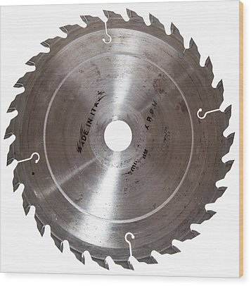 Circular Saw Blade Isolated On White Wood Print by Handmade Pictures