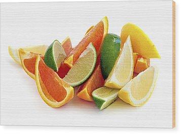 Citrus Wedges Wood Print by Elena Elisseeva