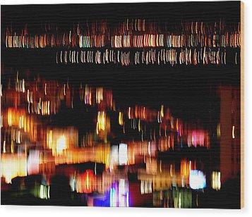 City Lights Wood Print by Mamie Gunning