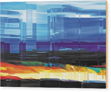 City Within Wood Print by The Art of Marsha Charlebois