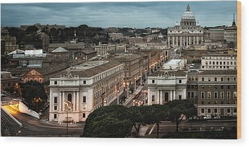 Cityscape In Rome Wood Print