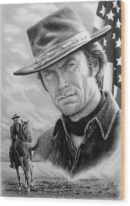 Clint Eastwood American Legend Wood Print by Andrew Read